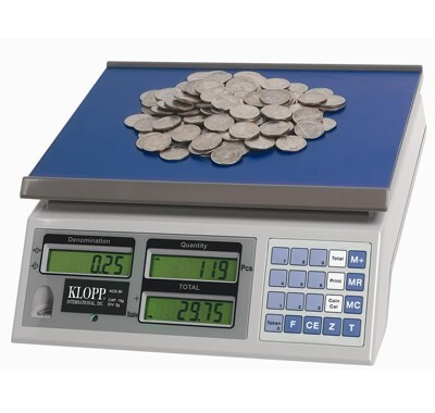 KLOPP KCS Series Coin Scales weighs coins, tokens and tickets