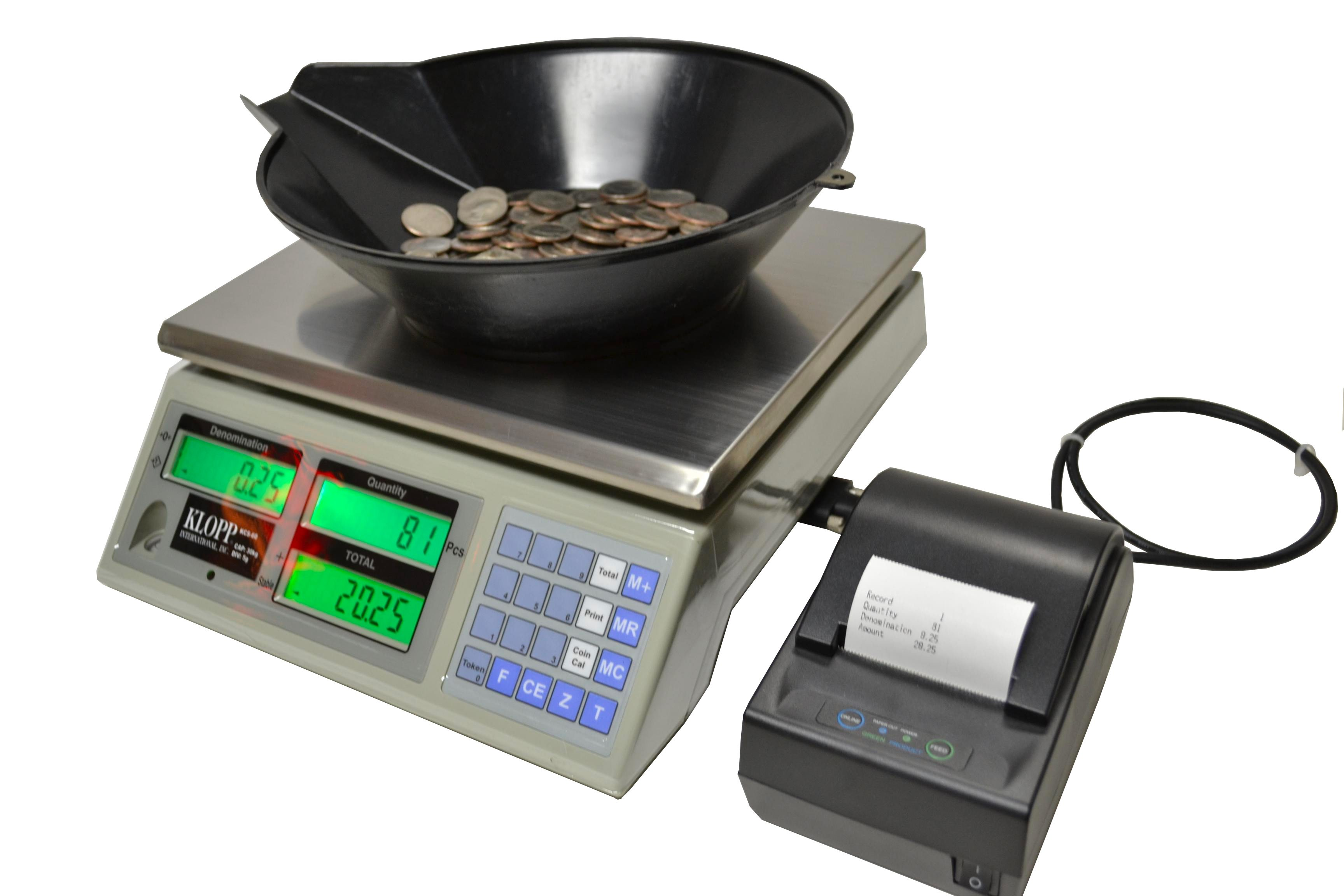 The KCS Series Coin Counting Scale in an easy-to-use, highly accurate scale for weighing coins, tokens and tickets