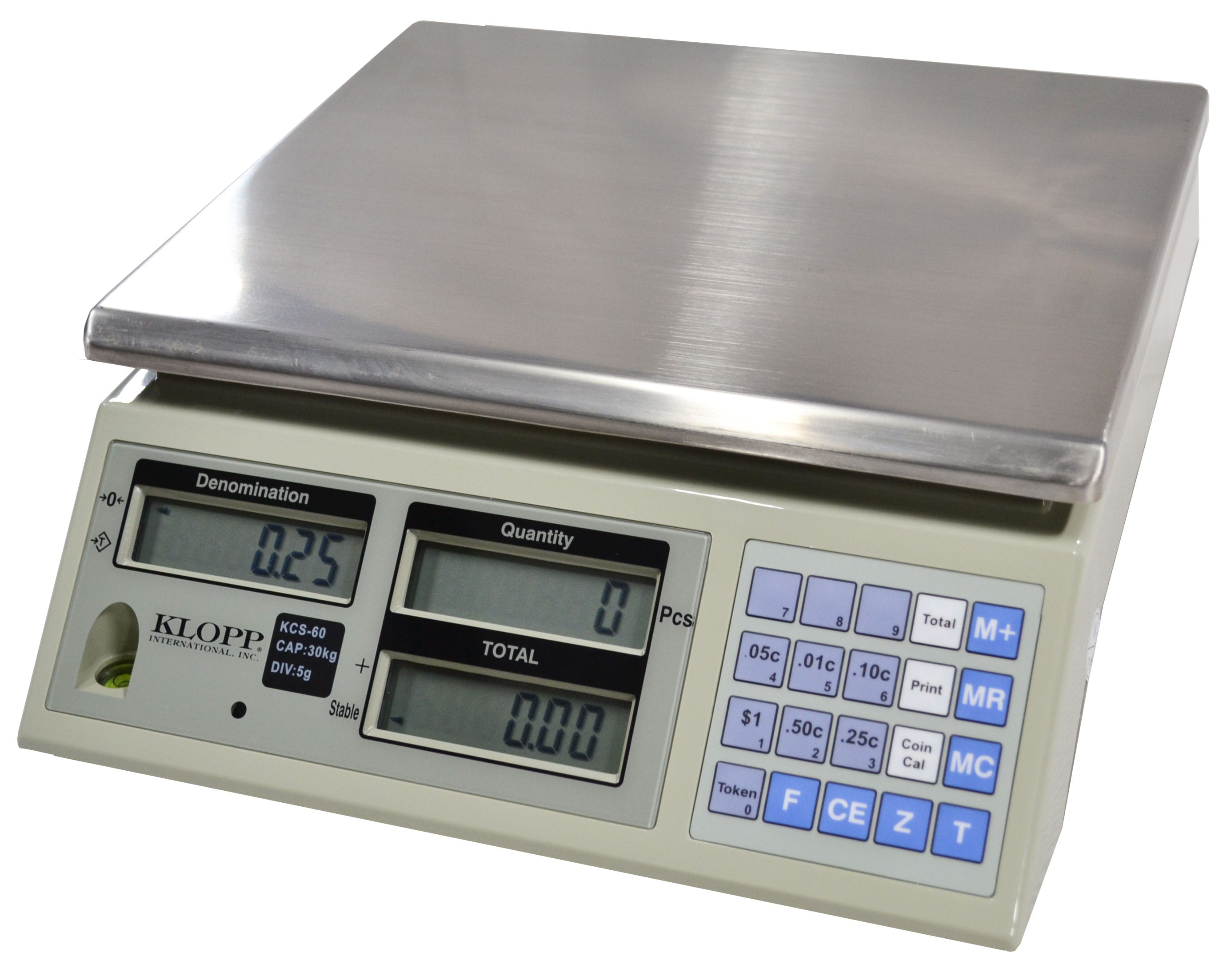 The KLOPP KCS-60 Coin Counting Scale in an easy-to-use, highly accurate scale for weighing coins and tokens