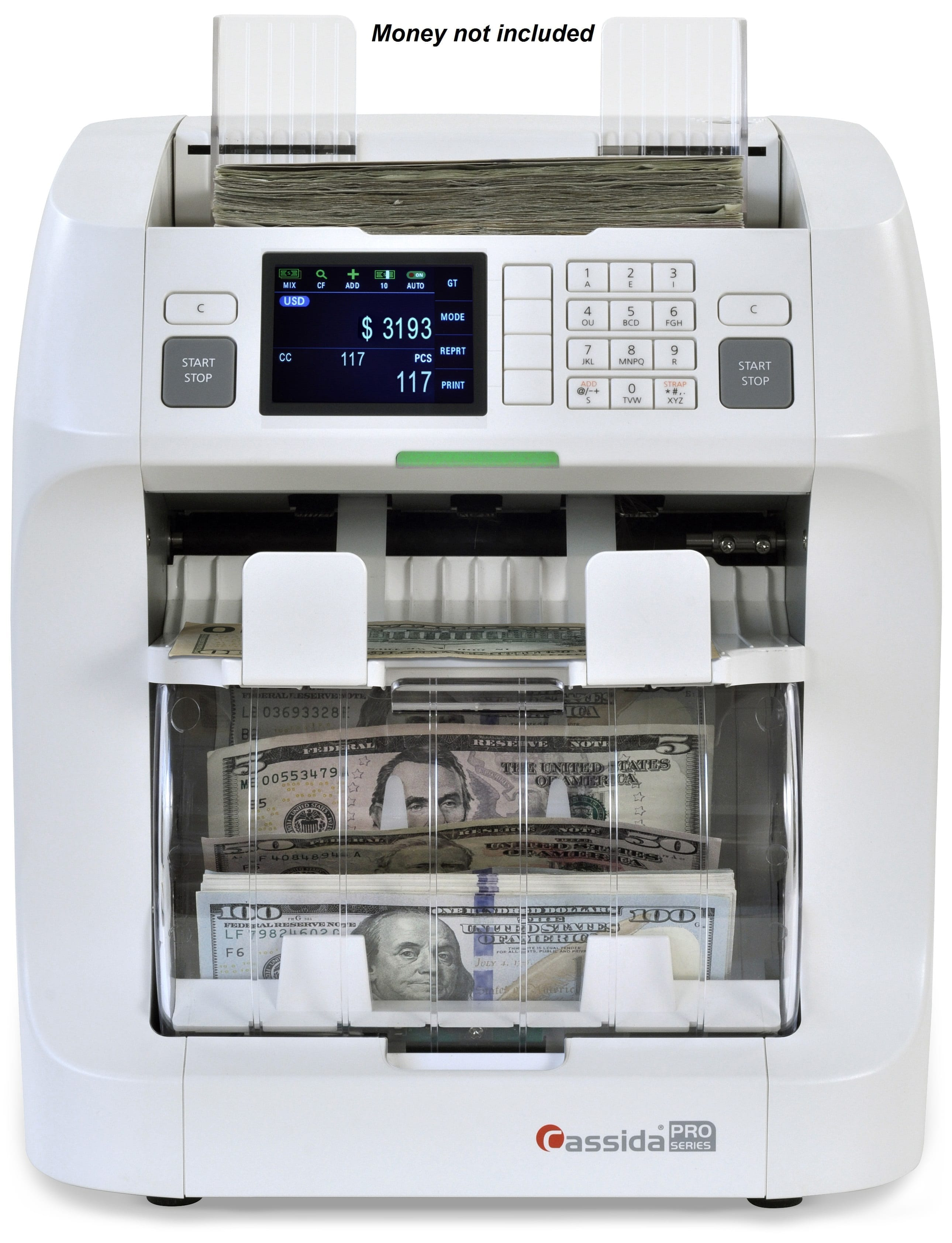 Cassida Zeus 2-Pocket Currency Discriminator counts up to 1000 notes per minute with Counterfeit Detection